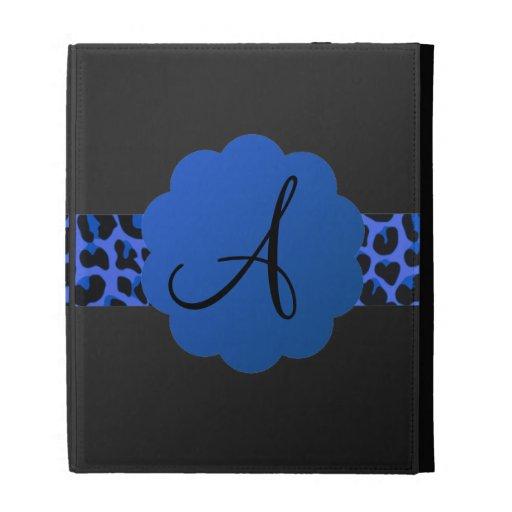 Blue leopard stripe monogram iPad cases