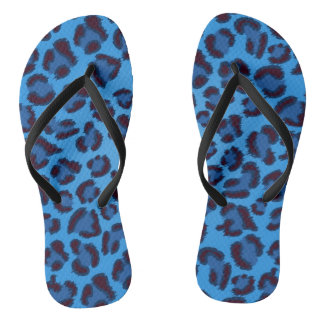 blue leopard texture pattern flip flops