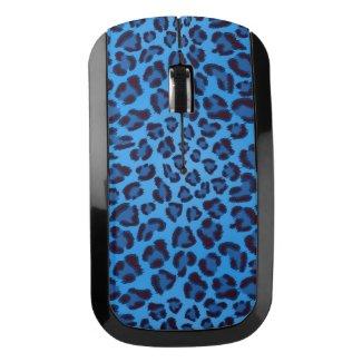 blue leopard texture pattern wireless mouse