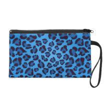 blue leopard texture pattern wristlet purse