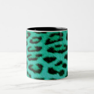 blue leopard Two-Tone coffee mug