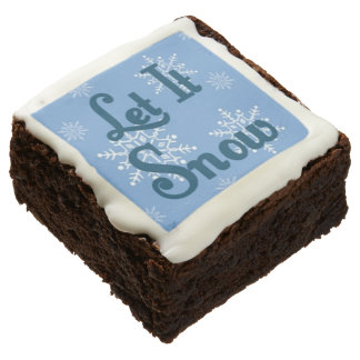 Blue Let It Snow Holiday Gourmet Chocolate Brownie