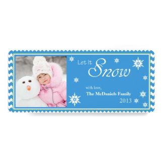 Blue Let It Snow Photo Christmas Flat Card