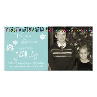 Blue Let's Be Jolly Christmas Holiday Photo Card