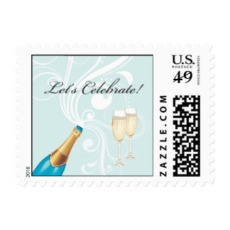 "Blue ""Let's Celebrate!"" Champagne Stamp"