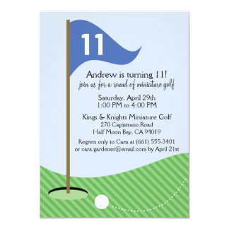 Blue Let's Par-Tee Miniature Golf Birthday Party Card