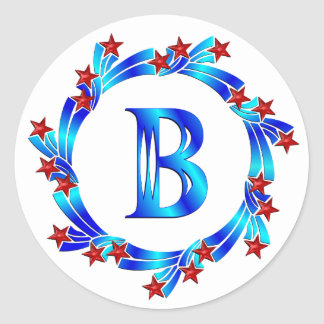 Blue Letter B Monogram Red Stars Round Sticker