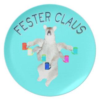 Blue Letter Customizable Froze Fester Claus Melamine Plate