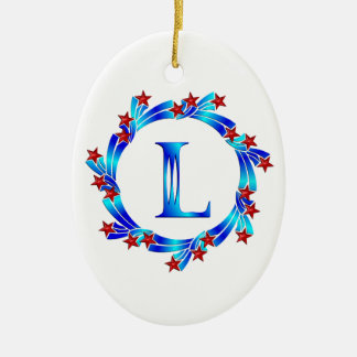 Blue Letter L Monogram Red Stars Double-Sided Oval Ceramic Christmas Ornament