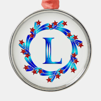 Blue Letter L Monogram Red Stars Round Metal Christmas Ornament