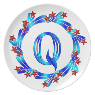 Blue Letter Q Monogram Red Stars Plate