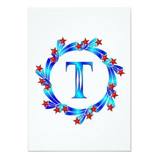 Blue Letter T Monogram Red Stars Custom Announcements