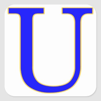 Blue Letter U Sticker