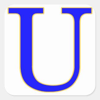 Blue Letter U Sticker