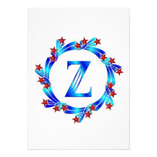 Blue Letter Z Monogram Red Stars Personalized Invitations