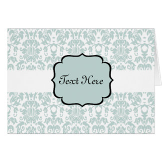 Blue Letterpress Damask Card