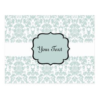 Blue Letterpress Damask Card Postcard