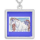 Blue Liberty Patriotic Horse Pendant