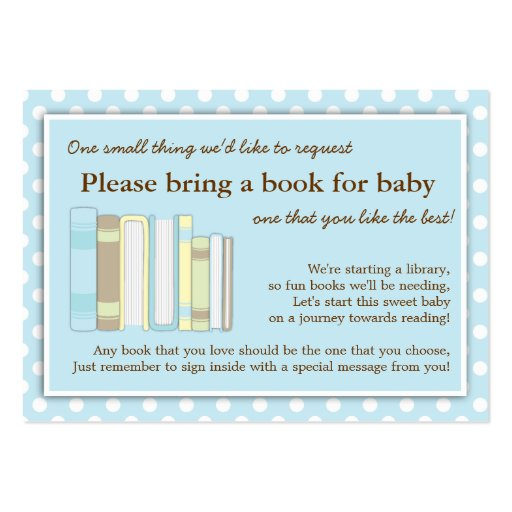 blue library baby shower book insert request card business card