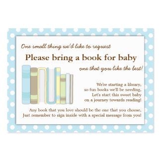 Blue Library Baby Shower Book Insert Request Card Large Business Cards (Pack Of 100)