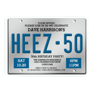 Blue License Plate 50th Birthday Party Invitations