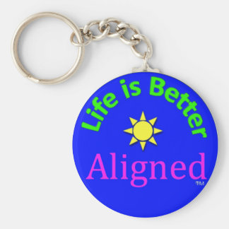 blue 'life is better aligned' keychain