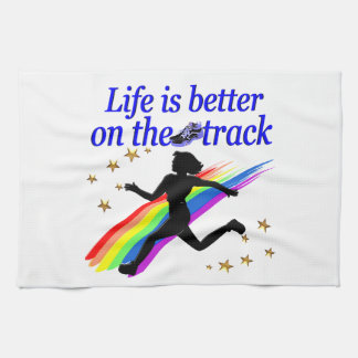 BLUE LIFE IS BETTER ON THE TRACK DESIGN HAND TOWEL