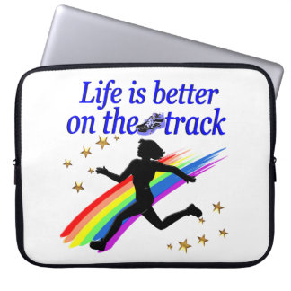 BLUE LIFE IS BETTER ON THE TRACK DESIGN LAPTOP SLEEVE
