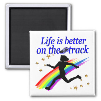 BLUE LIFE IS BETTER ON THE TRACK DESIGN MAGNET