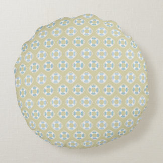Blue Life Preservers on Sandy Brown Round Pillow