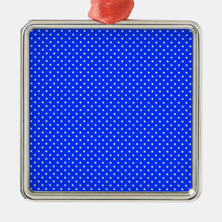 Blue-Light And-White-Polka-Dots Metal Ornament