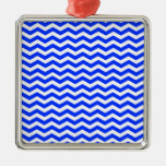 Blue-Light  And-White-Zigzag-Chevron-Pattern Christmas Ornament