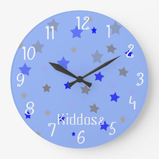 Blue, light blue and grey stars large clock