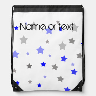 Blue, light blue and grey stars pattern drawstring bag