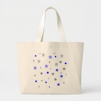 Blue, light blue and grey stars pattern large tote bag