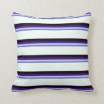 [ Thumbnail: Blue, Light Blue, Indigo, Black & Mint Cream Throw Pillow ]