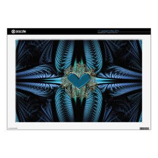 Blue Light Cross Fractal Heart Decor Skins Laptop Skin