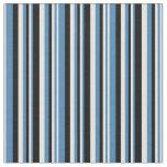 [ Thumbnail: Blue, Light Cyan, and Black Stripes Fabric ]