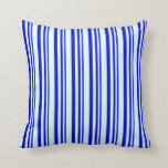 [ Thumbnail: Blue & Light Cyan Colored Striped Pattern Pillow ]