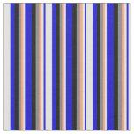 [ Thumbnail: Blue, Light Cyan, Light Salmon, Gray, and Black Fabric ]