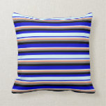 [ Thumbnail: Blue, Light Cyan, Light Salmon, Gray, and Black Throw Pillow ]