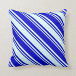 [ Thumbnail: Blue & Light Cyan Lines Pattern Throw Pillow ]
