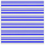 [ Thumbnail: Blue & Light Cyan Lines/Stripes Pattern Fabric ]