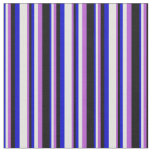 [ Thumbnail: Blue, Light Cyan, Orchid & Black Stripes Fabric ]
