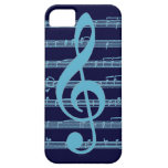 Blue light dark treble clef staff iphone 5 case