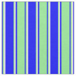 [ Thumbnail: Blue, Light Green, and Mint Cream Lines Fabric ]