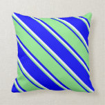 [ Thumbnail: Blue, Light Green, and Mint Cream Lines Pillow ]