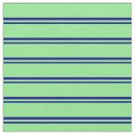 [ Thumbnail: Blue & Light Green Colored Lines/Stripes Pattern Fabric ]