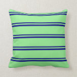 [ Thumbnail: Blue & Light Green Colored Lines/Stripes Pattern Throw Pillow ]
