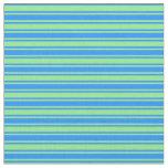[ Thumbnail: Blue & Light Green Lined Pattern Fabric ]